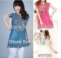 2013 bohemia dress embroidery Bohemian dress V-neck short-sleeve shirt chiffon one-piece dress paillette size:s--xxl 5 color