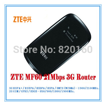 ZTE MF60 21.6M WCDMA 3G wifi wireless 3G modem,wireless router for Phone,laptop.5 pcs/lot DHL free shipping