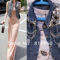 Free Shipping 2014 New Women Washed Blue Denim Sequin Embellish Beading Jean Vest Sleeveless Jacket Plus Size Vintage 0003