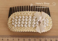 FREE SHIPPING 2014 New Fashion Sweet Girl Cute Pearl bowknot Hair Combs kids girl children hair accessories