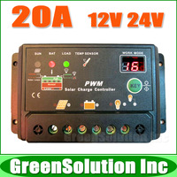 Free Shipping, New Upgrade Version 20A Solar Charge Controller Regulator 12V 24V Auto Switch