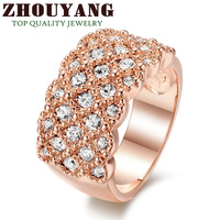 ZYR020 Fully-Jewelled Ring 18K Rose Gold Plated  Wedding Ring Made with Genuine Austrian Crystals Full Sizes Wholesale
