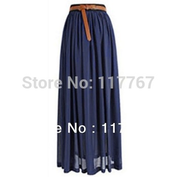 Hot Sale 2014 Ladies Chiffon Pleated Long Retro Maxi  Skirt Elastic Waist Skirt Free Shipping 650990-650998