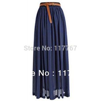 Hot Sale 2014 Ladies Chiffon Pleated Long Retro Maxi  Skirt Elastic Waist Skirt Free Shipping 650990-650998