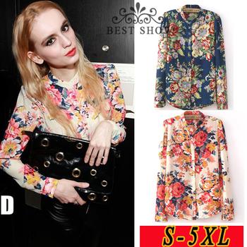4xl 5xl Plus Size Clothing New Fashion 2015 Spring European Vintage Floral Print Long Sleeve Women Tops Women's Shirts Blouses