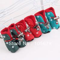 Z364  Cotton cloth tape pet waterproof rain boots pet shoes hot-selling economic shoes 4pcs/set
