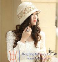2014 New kentucky Derby Wedding Dress Hat Winter 100% Wool Fabric Handmade Short Brim Women's Felt Hat