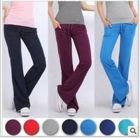 Women Lady Cotton Yoga Sport Drawstring GYM Long Pants Trousers Straight Leg P2710