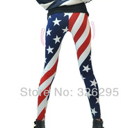 Pop Art Sexy Stripe Star Printed American Flag Leggings Lady Summer Pants Skinny Stretchy Nine Leggins Free Shipping