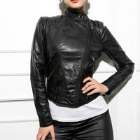 New Women's Motorcycle Faux Leather Jacket Lady Stand Collar Short PU Coat Outerwear Hot Sale