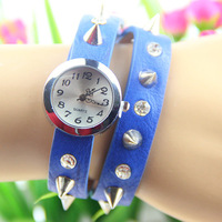 11 colors Punk Cow Leather winding women Watches spike leather bracelet 1pcs/lot