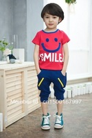 boy's  hot clothes Korean children 2013 smiling faces of boyT-short suit t child + Haren pants Free shipping,