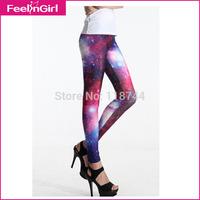 2014 New Fashion Women Space Print Pants Galaxy Leggings Advanture Time Leggings Purple Ankle-Length Sexy Leggings Free Shipping