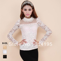 Free shipping 2014 New Arrive Spring Plus Size Beading Gauze Lace Dot Pearl  Long-Sleeve Lady Blouses Basic Shirt yfnd8140