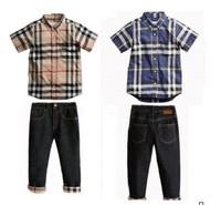 New, retails ,Free Shipping,boys sleeve clothes + jean pants,children outerwear, sports suit ,1set/lot,2T-7T--JYS13
