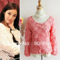 3D Lace Rose Flower Pullover Chiffon Batwing Sleeve women Tops Loose lady sweater