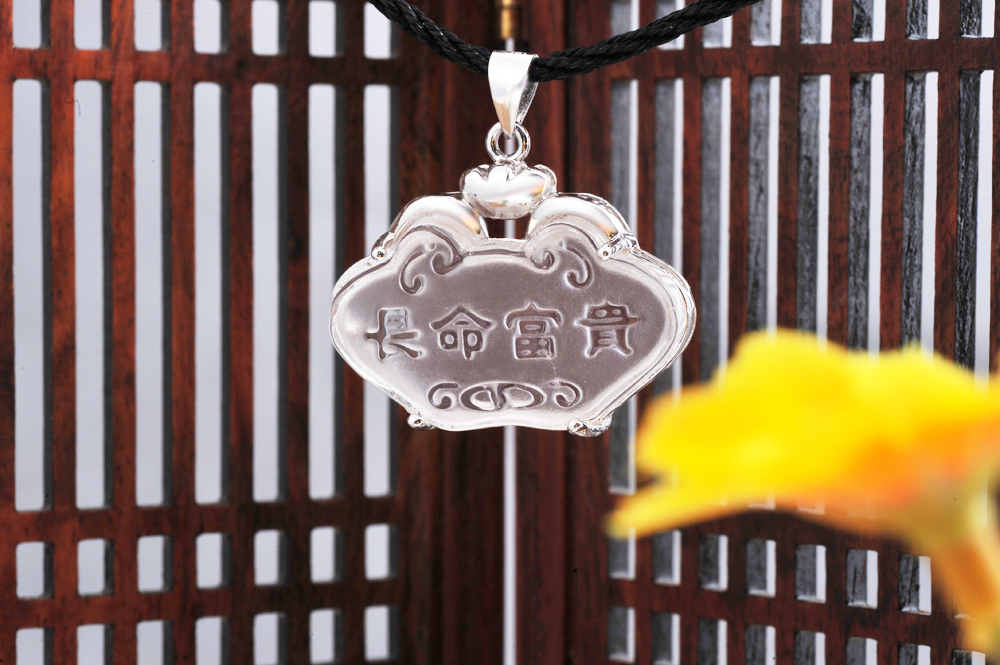 100% Natural Grade AAA Crystal Longevity Fortune Lock sterling silver necklaces &pendants floating charms 2013 supernova sale(China (Mainland))