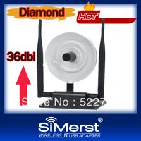 Black Diamond USB wifi adapter 360000N Ralink 3070 WEP WPA 3800mW 36dBi 150Mbps 3 High Gain Antenna