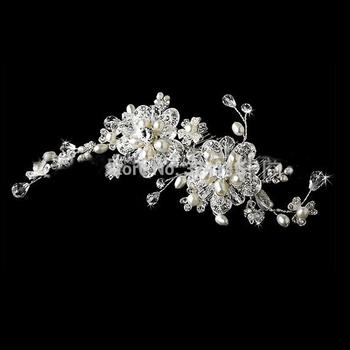 16.5cm*9cm handmade made luxurious pearl flower wedding hair combs bridal Hairpins bride crystal hair jewelry