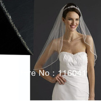 Free Shipping Good Quality White/Ivory One Layer 1T Exquisite Beaded Edge with Metal Comb Bridal Veil