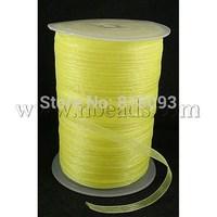 Additional Discounts Organza Ribbon,  Yellow,  6mm wide,  500yd/roll