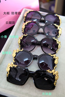 Free Shipping Min.Order $15_2013 New vintage the Baroque style handmade sunglasses metal resin flower