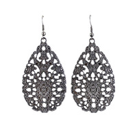 Fashion Vintage Hollow-out Alloy Water Drop Earrings for Women