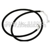 """Velvet Cord Necklace Cord,  Platinum,  Black,  about 3mm diameter,  18"""" long"""