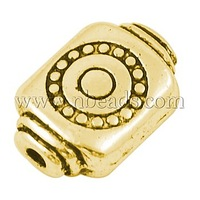 Tibetan Style Beads,  Lead Free and Cadmium Free,  Rectangle,  Antique Golden Color,  about 12mm long,  9mm wide,  8mm thick