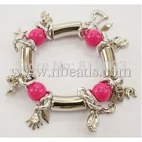 CCB Acrylic Beads Charm Bracelets,  with Aluminium Chain,  Fuchsia,  Bracelets: about 55mm in diameter