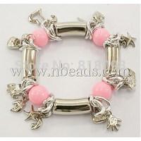 Acrylic Beads Bracelets,  CCB Acrylic Beads,  Aluminium Chain,  Pink,  Bracelets: about 55mm in diameter