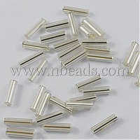 Glass Bugle Beads,  Silver Lined,  Silver,  6x1.8mm,  Hole: 0.6mm; 10000pcs/pound