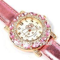 2015 New Fashion Big Diamond hello kitty watch girl kids women leather strap dress watches quart rhinestone quart  wrist watch