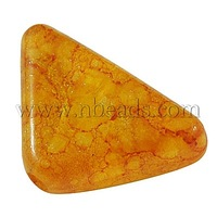 Spray Painted Acrylic Beads,  Translucent with Sprinkle Style,  Triangle,  Orange,  Size: about 14mm long,  23mm wide