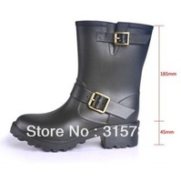 free shipping leather rainboots,boots,rainboots for women,rain boots low heels waterproof,wellies,woman water shoes