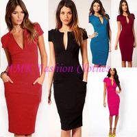 New V-Neck Fashion Work Sliming Knee-Length Pocket Party elebrity Pencil dresses  D0028