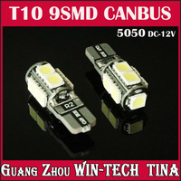 Free Shipping 5pcs/lot 12V 5050 T10 9 SMD LED Light Car Bulb LED Interior Canbus Error Free White(6000-7000k)