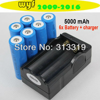[ Special offer ] 6x 5000mAh 3.7V 18650 Li-ion Rechargeable Battery + Charger For UltraFire LED Flashlight Torch flash light