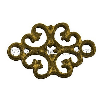 Closeout Tibetan Style Connectors,  Lead Free and Cadmium Free & Nickel Free,  Flower,  Antique Golden Color