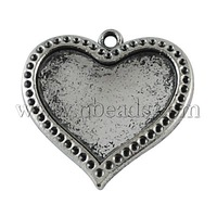 Most Wanted Findings Tibetan Style Pendant Settings for heart Cabochon & Rhinestone,  DIY Findings for Jewelry Making