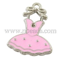Alloy Enamel Pendants,  Lead Free and Cadmium Free,  Antique Silver Color,  PearlPink,  Skirt,  21.5mm long,  16mm wide