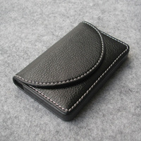 unisex  casual Magnetic lock leather bussiness namecard bank ID card box case holder organizer wallet gift litchi black 1196
