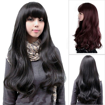 2014 new arrival  lady's fashion  fluffy big wavy long curly wig,black wavy wig synthetic,wholesale,Free shipping,ZMF028