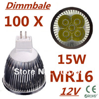100pcs/lot Dimmable LED Lamp MR16 E27 E14 GU10 GU5.3 5X3W 15W LED Light Bulbs High Power LED Spotlight + Free shipping