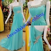 DMR008 Sky Blue One Shouder Crystal Beaded Long Style Chiffon Evening Dress China 2015