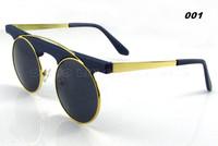 10pcs/lot Super Brand Vintage Sunglasses Retro 80's Men Female Round Shape Withe Meal Stripe oculos UV400 Free Shipping 2253