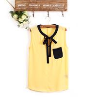 2 Colors O-Neck Bowknot Sleeveless Chiffon Shirt Casual Blouse    K39