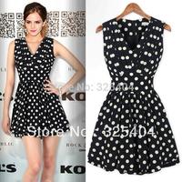 Free shippingNew Quality Sleeveless V-neck Polka Dots Pleated Women's Tunic Mini Dress D3181