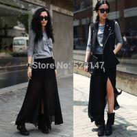 Free Shipping See Through Women Sheer High Side Split Black Pleated Chiffon Maxi Long Skirt  CY0191 Dropshipping
