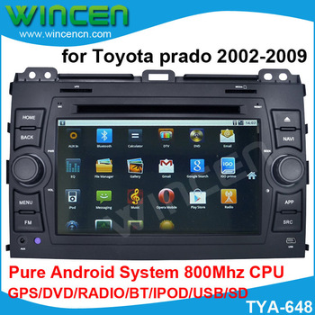Car DVD GPS Player for Toyota Prado 120 2002-2009 with Pure Android wifi 3G DVD GPS BT A2DP RADIO IPOD OBD(opt) free shipping